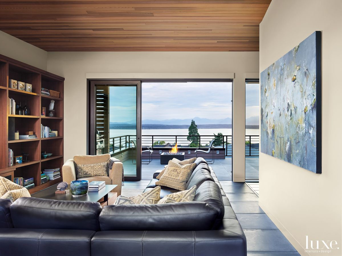 Contemporary Neutral Living Room with Outdoor Fire Feature