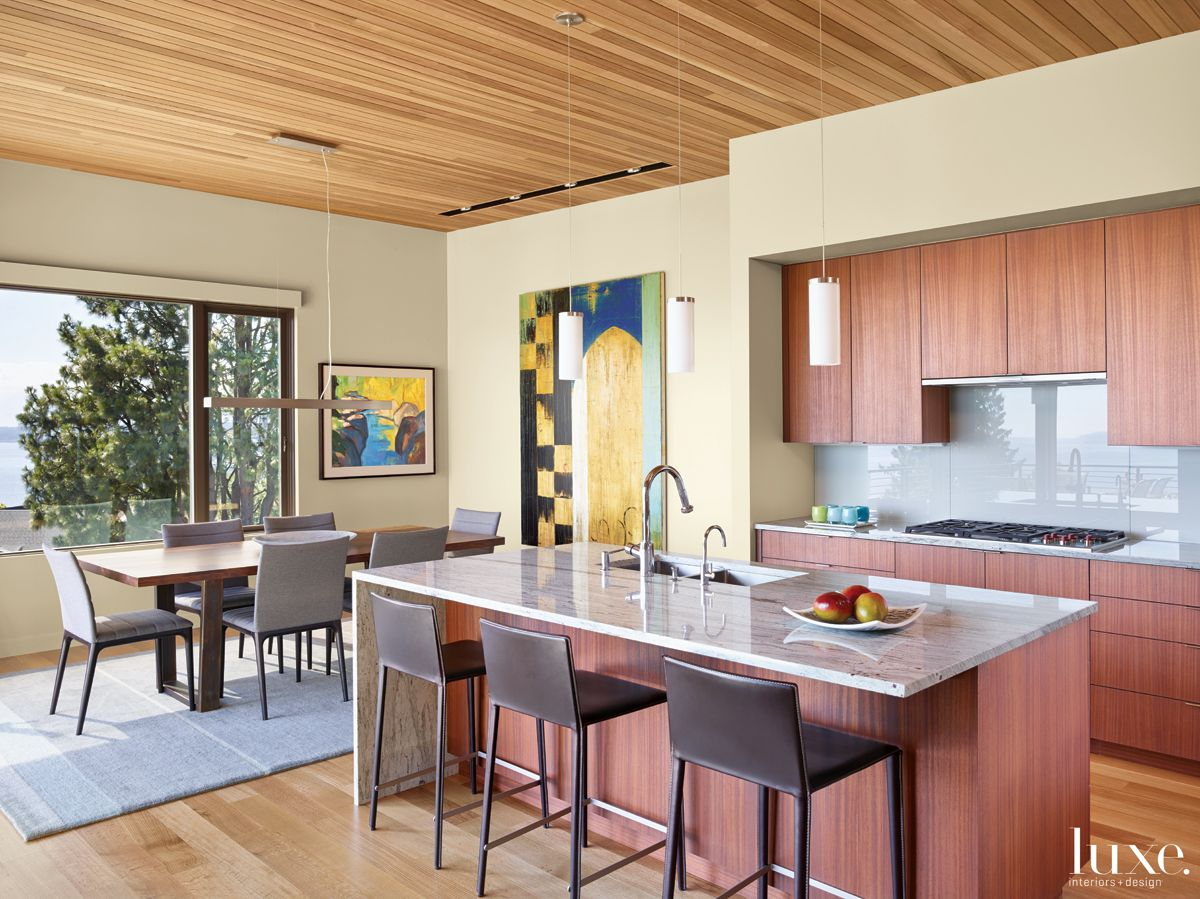 Contemporary Neutral Kitchen with Cedar Ceiling