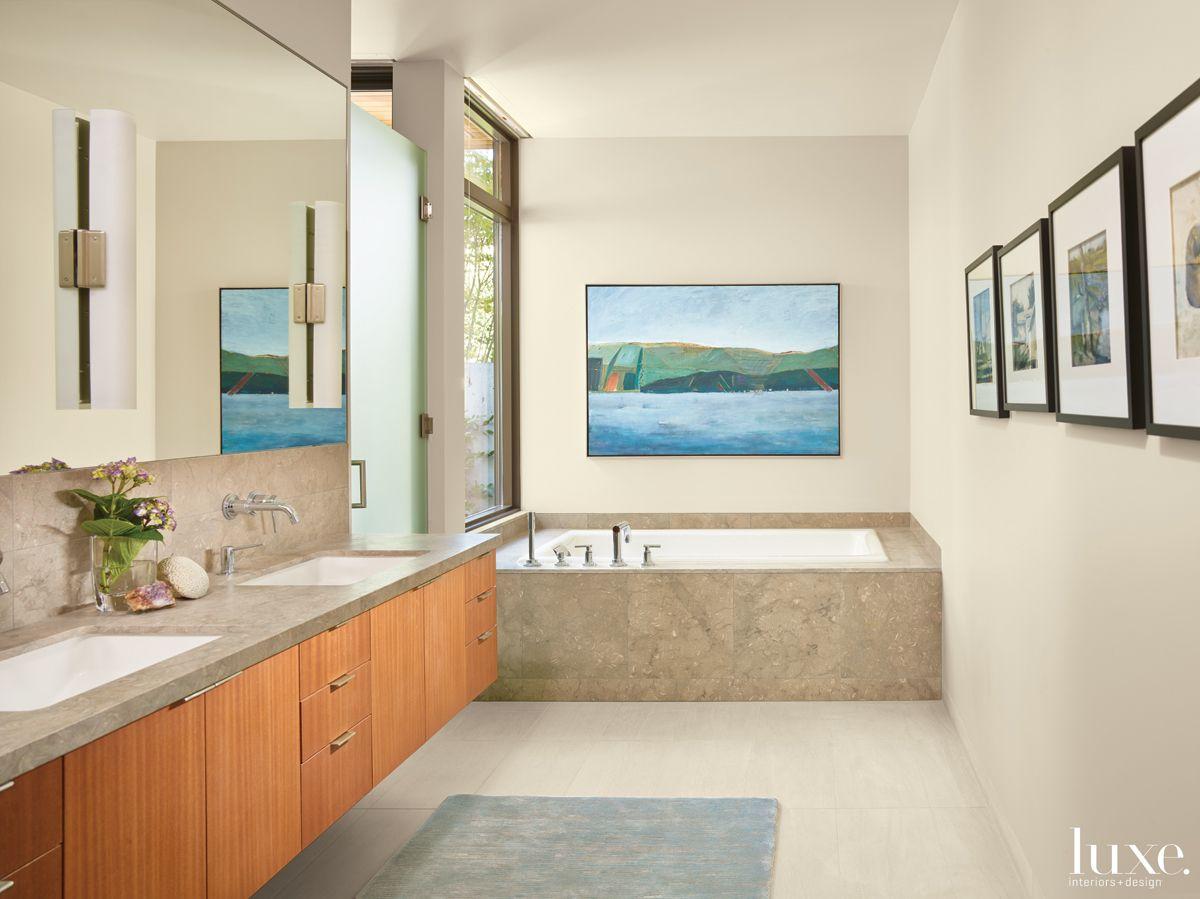 Contemporary Neutral Bathroom with Sea Grass Honed Limestone