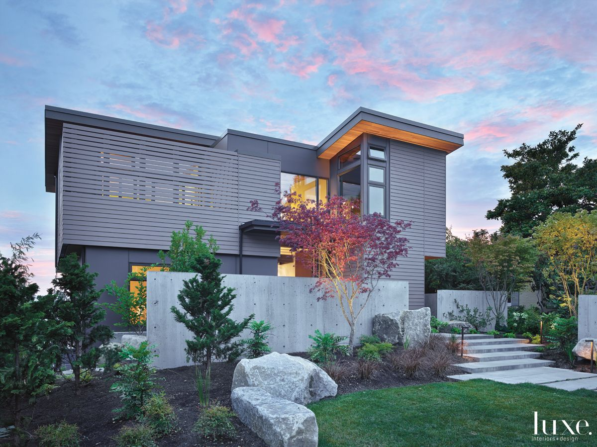 Contemporary Gray Exterior with Stained-Cedar Siding
