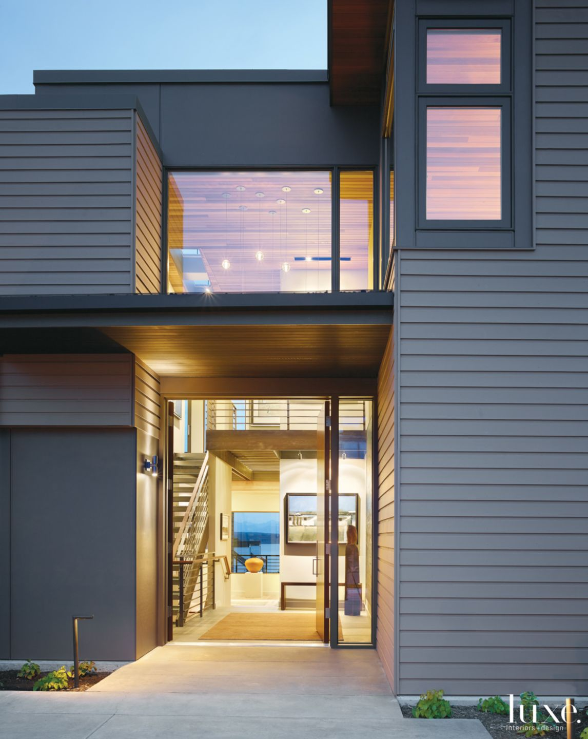 Contemporary Gray Exterior with Sapele Front Door