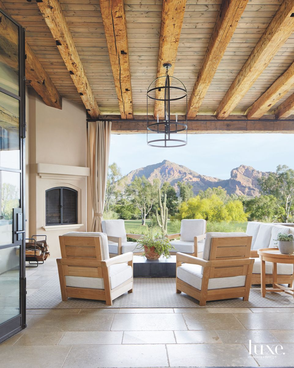 Outdoor Room with Reclaimed Ceiling, Mountain Views, Fireplace, and Outdoor Furniture