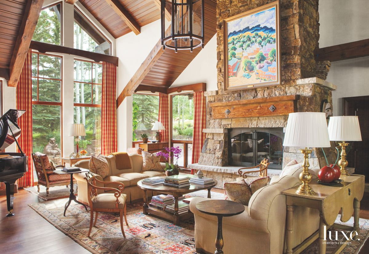 A Refreshed Terra-Cotta Living Room with Painting