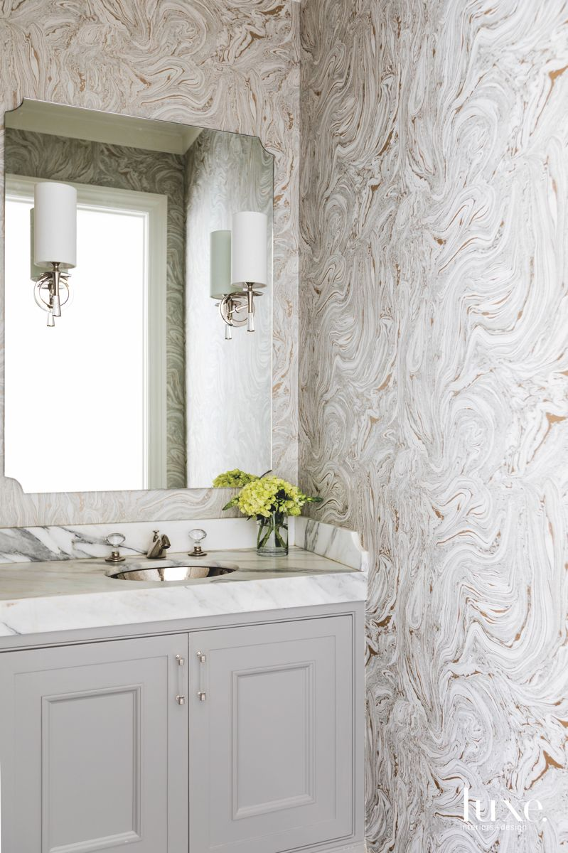 Light Stone Like Wallpaper Powder Room with Sconces and Mirrors