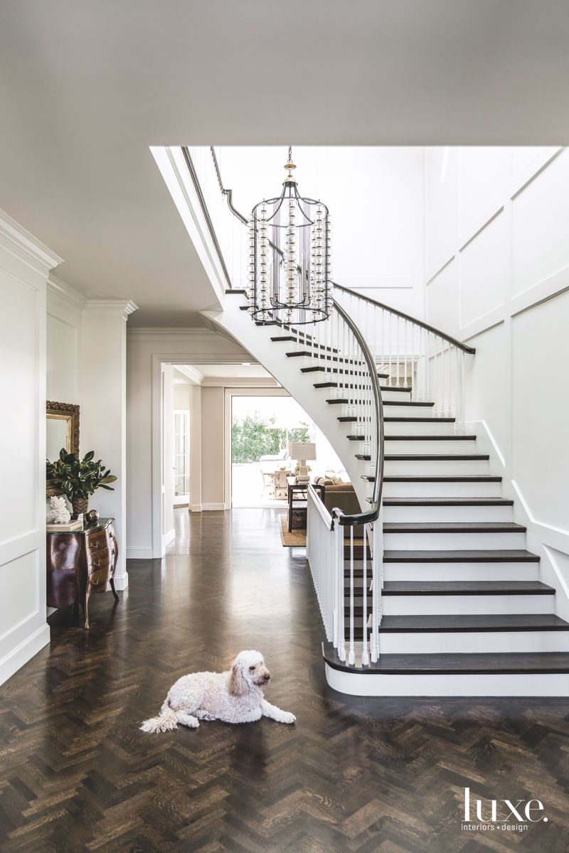 Herringbone Wooden Floor Entryway, Chandelier with Spiral Staircase and Dog