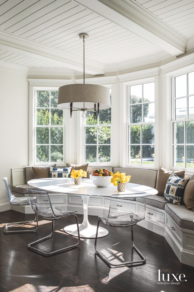 Lucite Dining Chair Breakfast Area with Bay Window and Window Bench