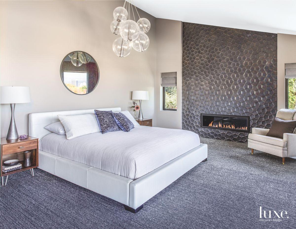 Black Ann Sacks Tiled Master Bedroom Fireplace