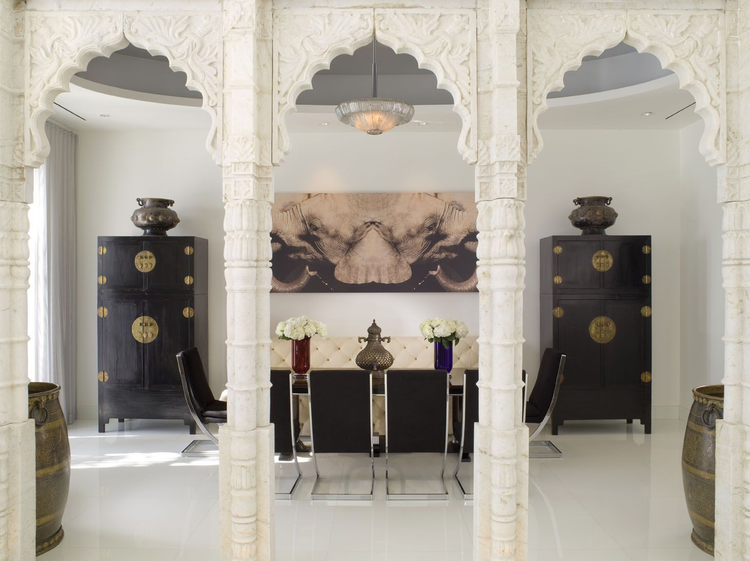 Modern White Dining Room with Indian Marble Colonnades