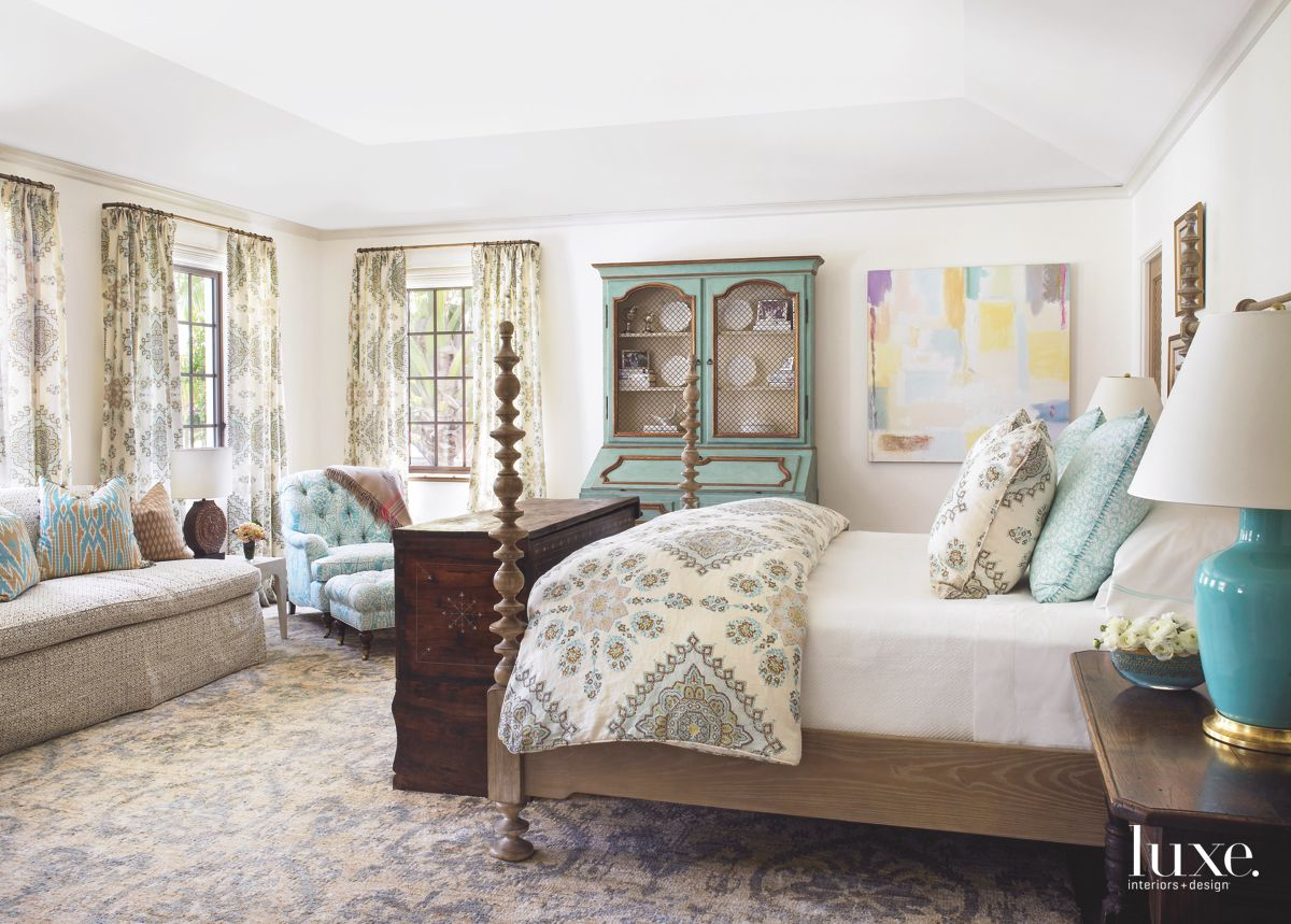 Turquoise and Brown Master Bedroom with Four Poster Bed and Antiques