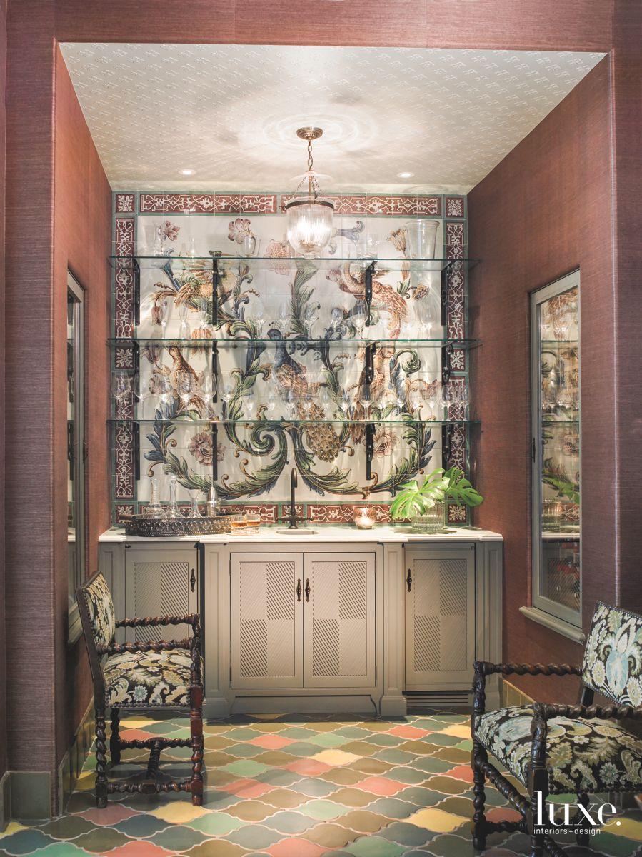 All-Custom Terracotta Vignette with Hand-Painted Tile