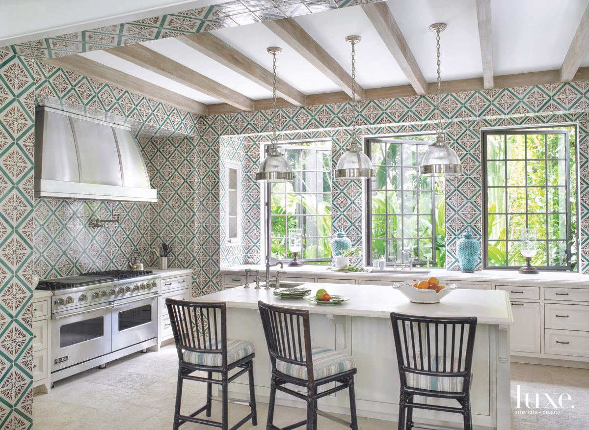 Portuguese Palace-Inspired Tile-Clad Kitchen