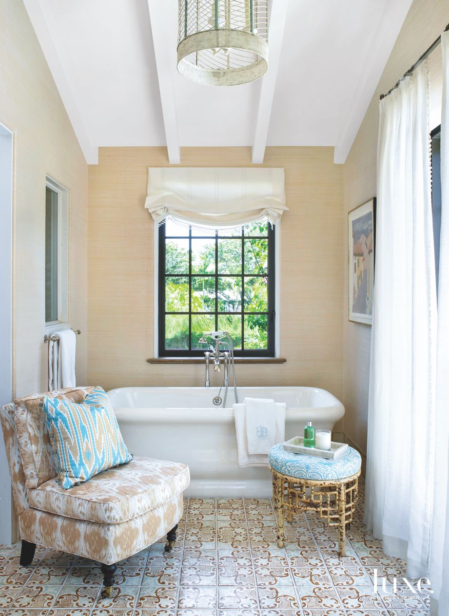 Romantic Gauzy Taupe Master Bathroom