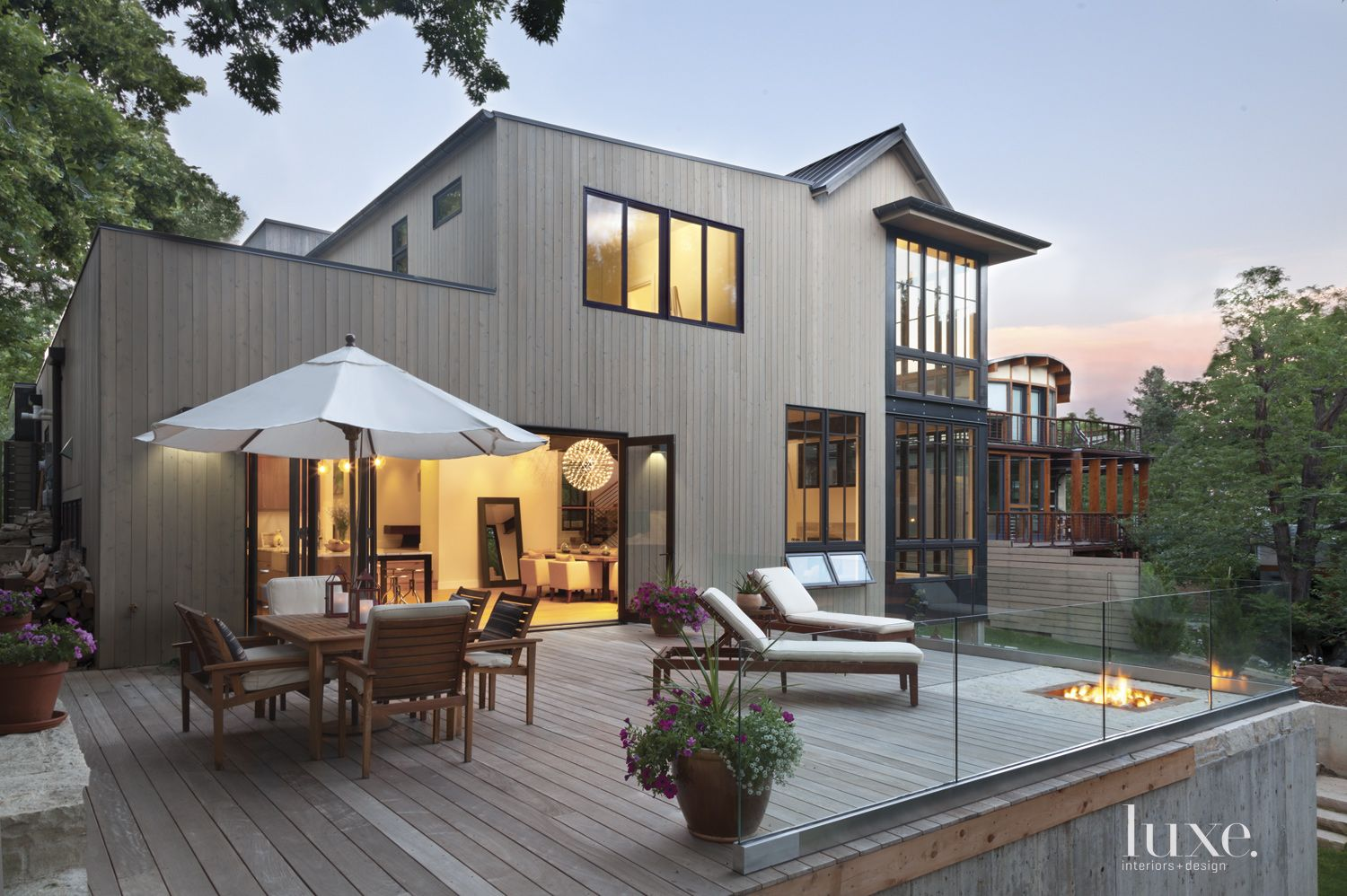 Contemporary Neutral Exterior with Fire Pit