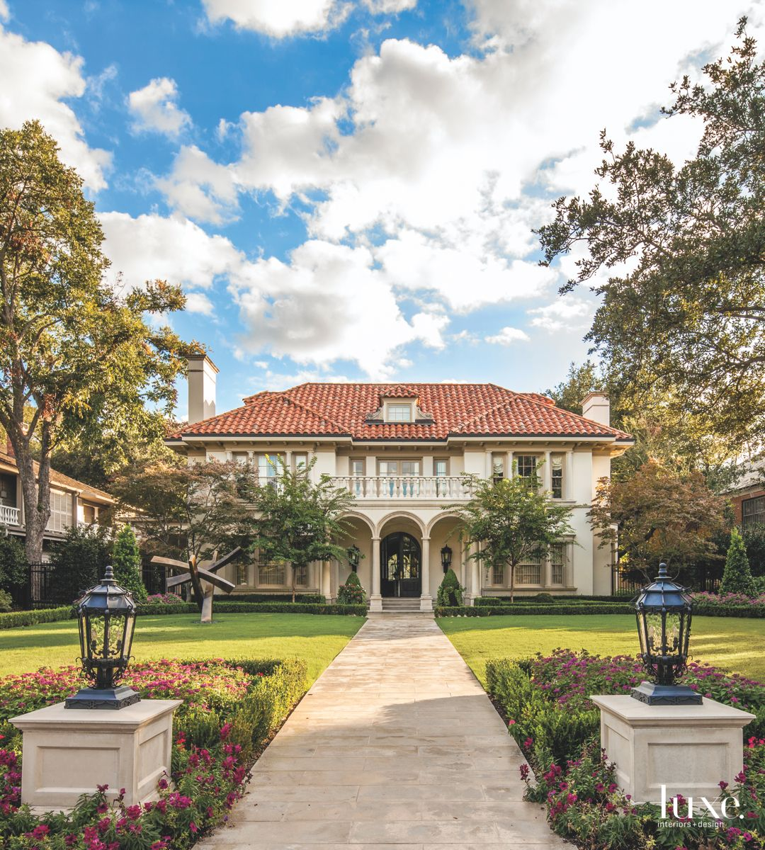 North Dallas Mansion with Sophisticated Plantings and Sculpture