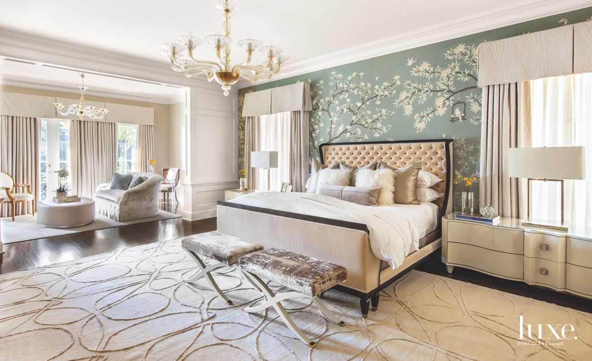 Hand-Painted Wallpaper Backdrop Master Bedroom with Chandelier