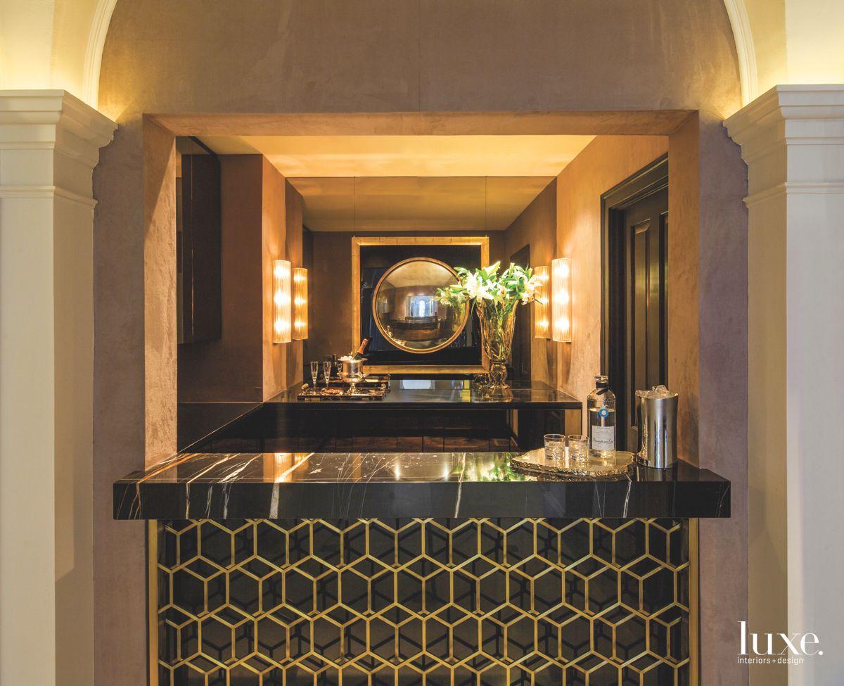 Custom Bronze Grillwork Gilded Bar
