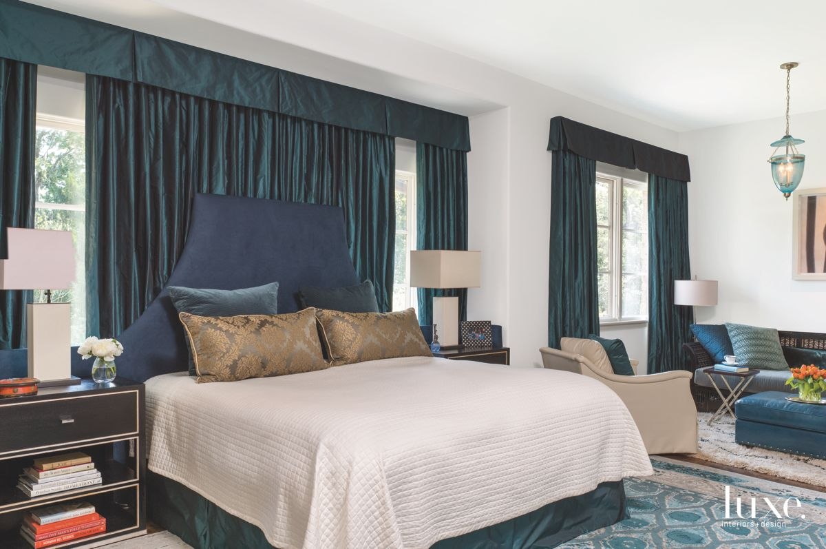 Cascading Draperies in the Master Bedroom