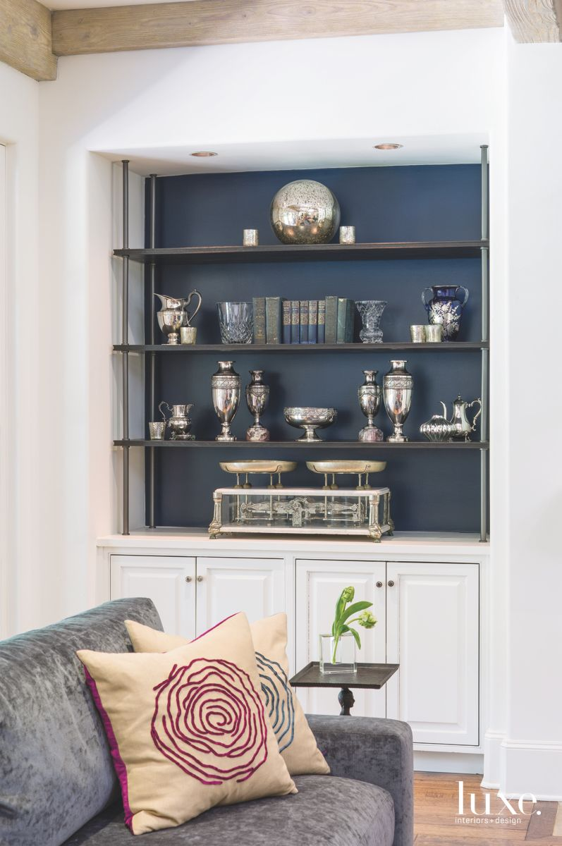Velvet Pillows and Silver Accessories in the Family Room