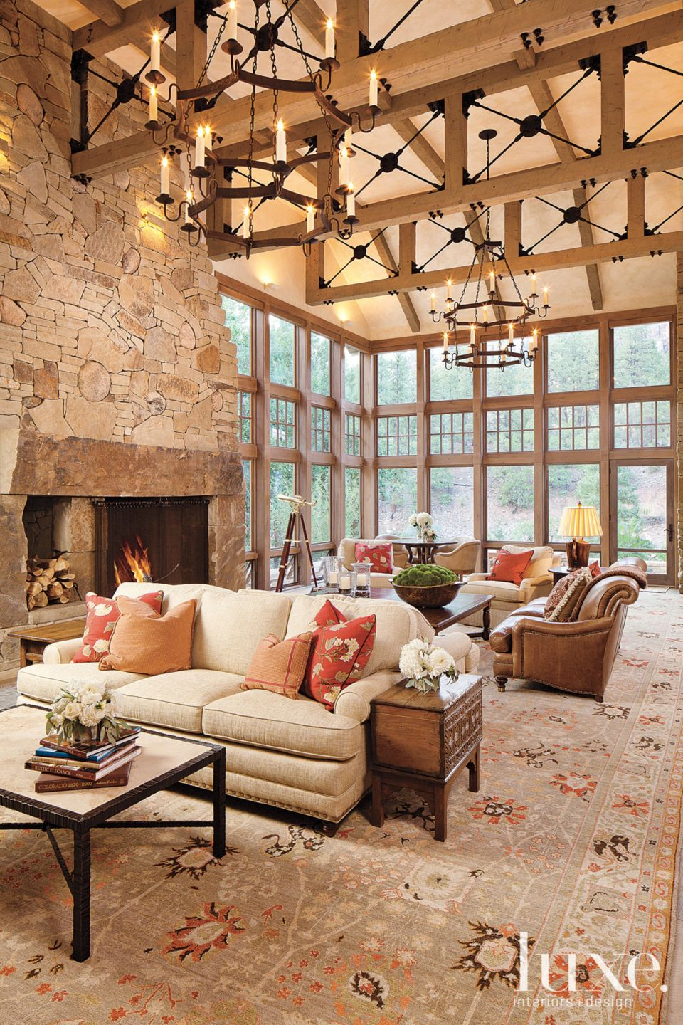 Country Neutral Great Room with Vaulted Ceiling