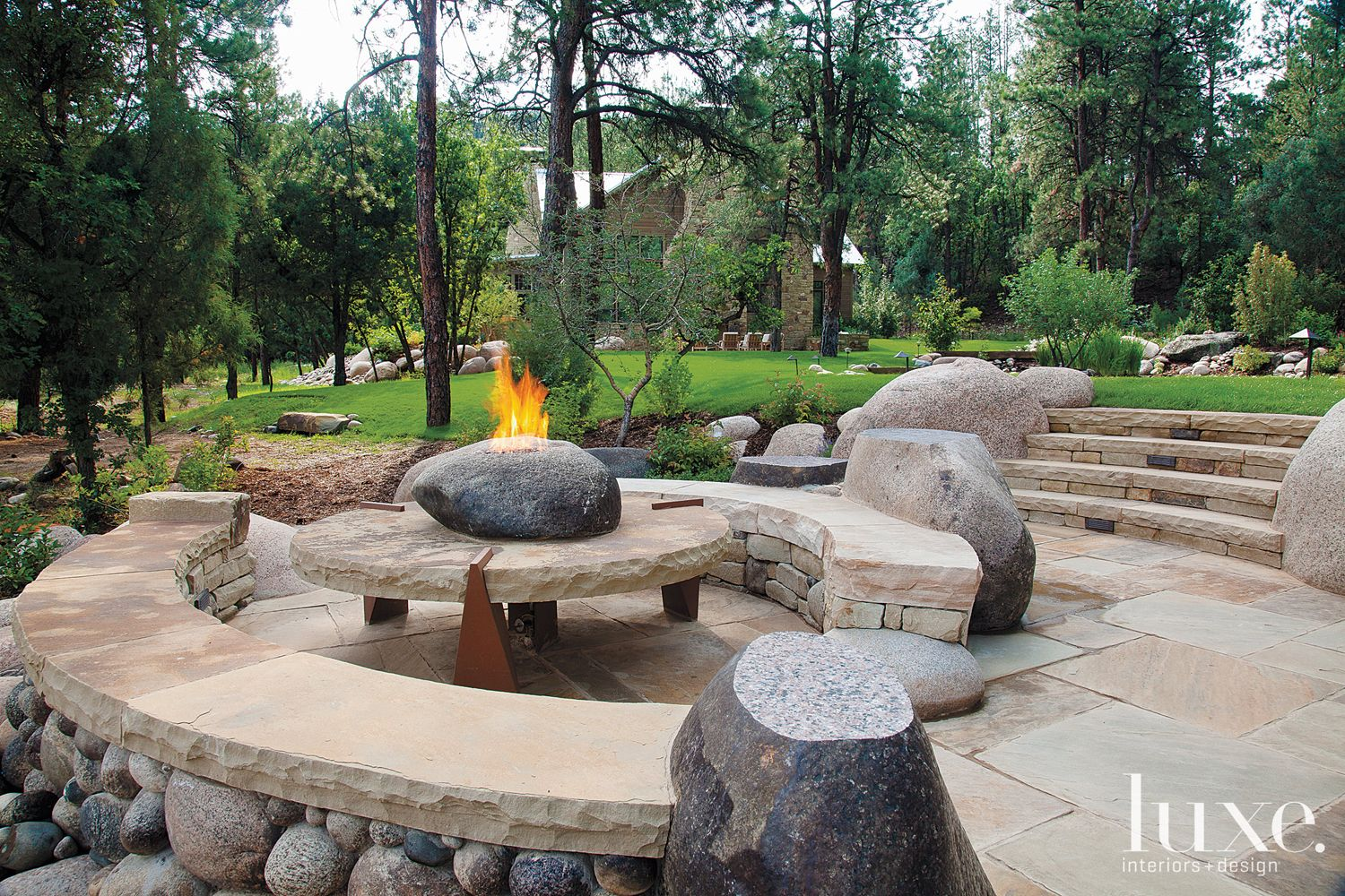 Country Neutral Outdoor Seating Area with Stone Firepit