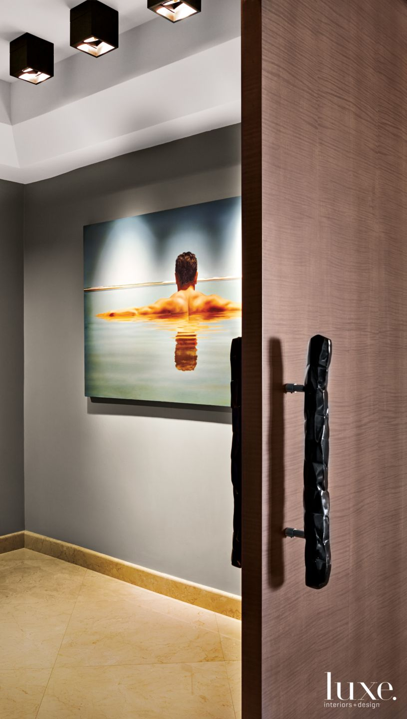 Contemporary Gray Elevator Entry with Painting