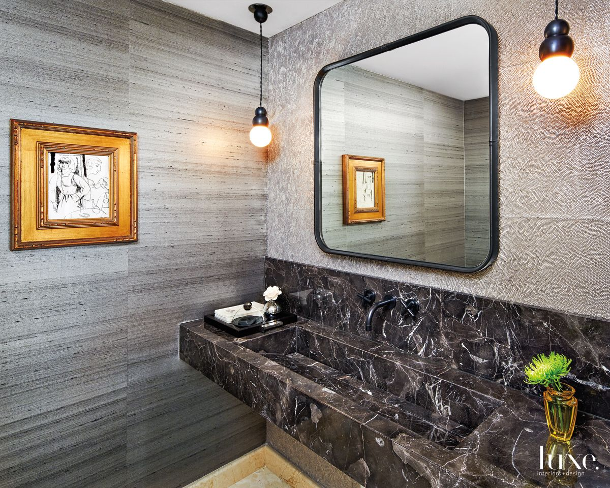 Contemporary Gray Powder Room with Custom Trough Sink