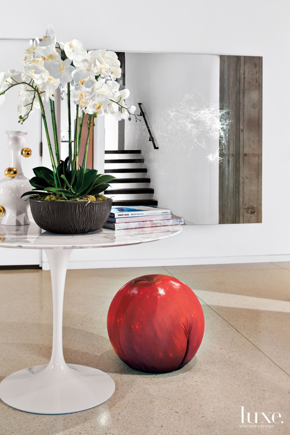 Modern Neutral Foyer with Apple Stool
