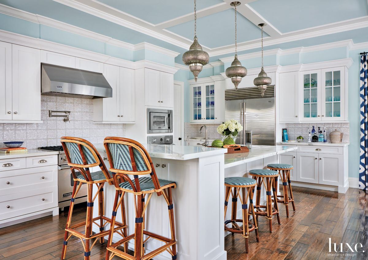 Mediterranean Blue Kitchen with Moroccan-Style Pendants