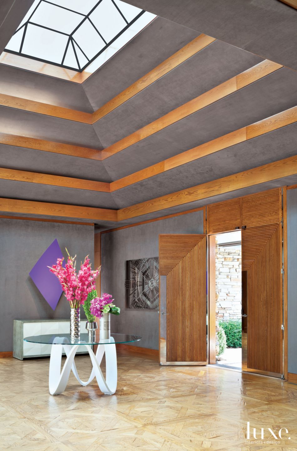 Modern Gray Entry with Scalloped Ceiling