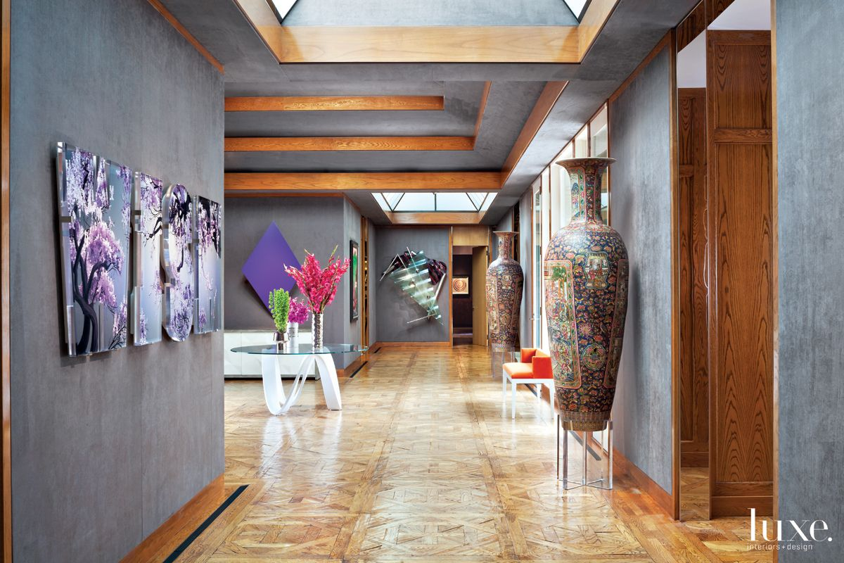 Modern Gray Entry Hall with Upholstered Walls
