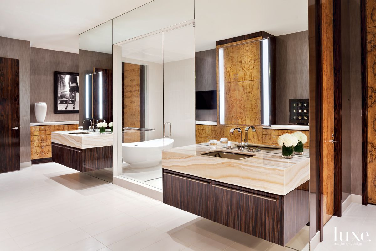 Modern Brown Bathroom with Steam Room