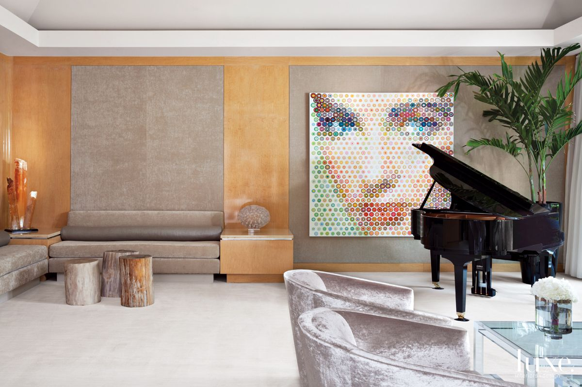 Modern Neutral Living Room with Fabric Wall Panels