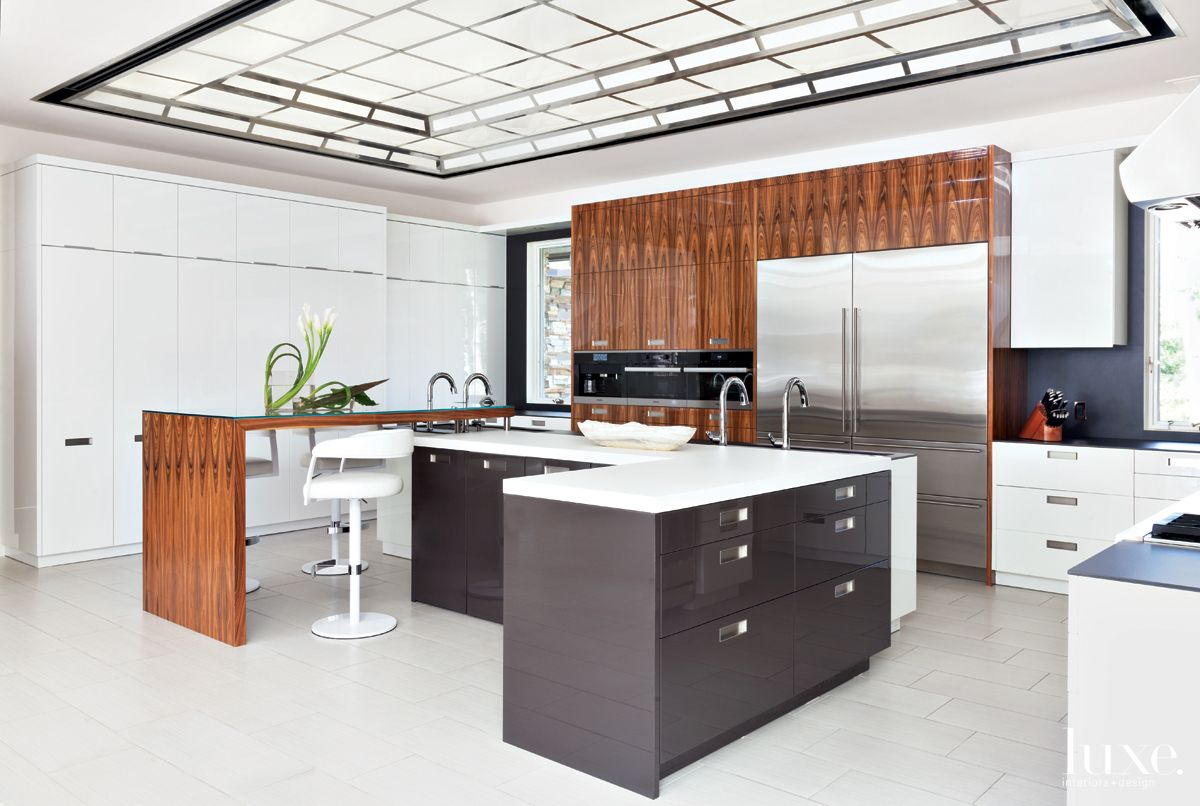 Modern White Kitchen with Gray Lacquer Island