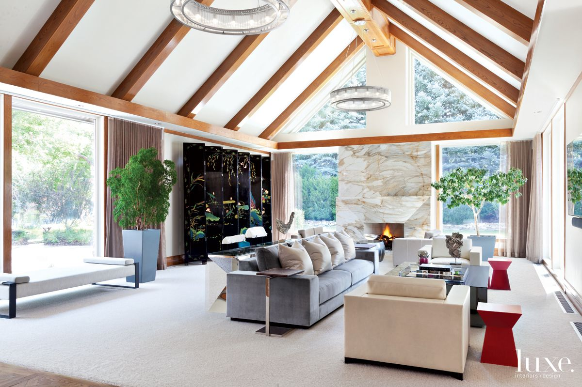 Modern White Great Room with Vaulted Ceiling