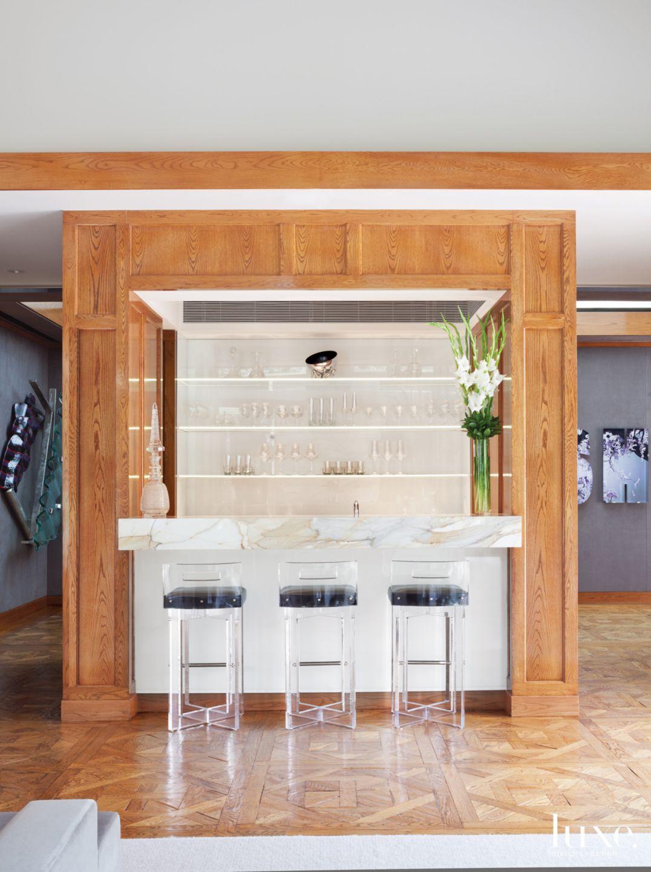 Modern Neutral Bar Area with LED Glass Shelves