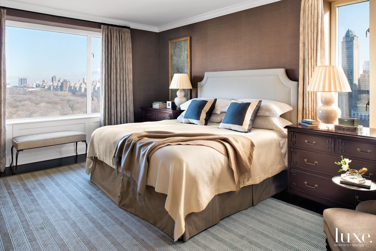 Contemporary Brown Bedroom with Central Park Views