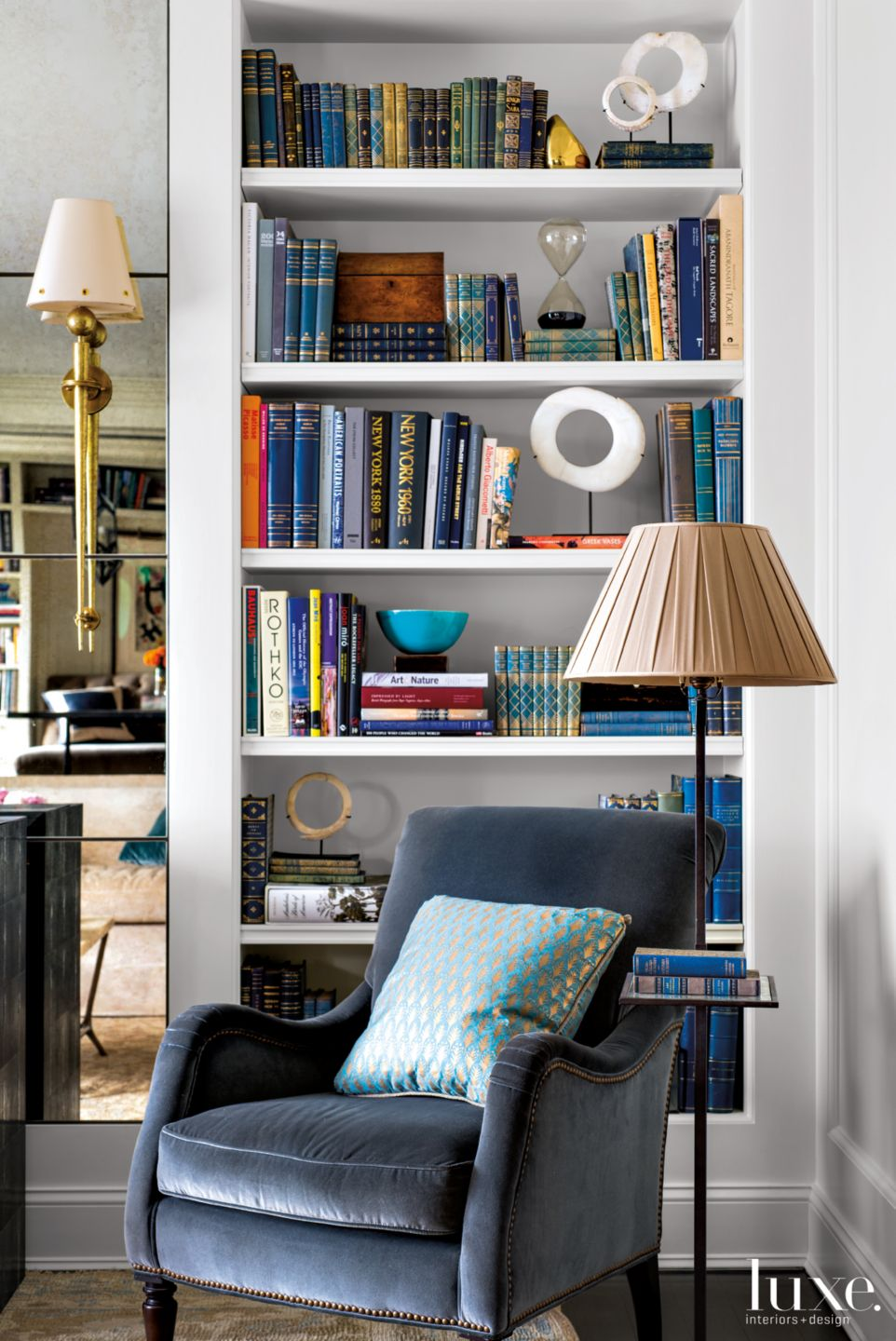 Contemporary Neutral Living Room Vignette with Bookcase
