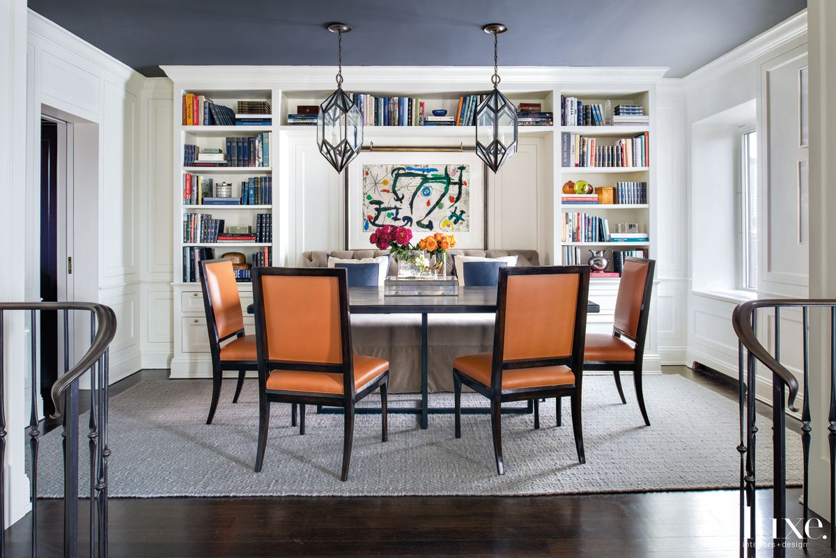 Contemporary White Dining Room with Navy Ceiling