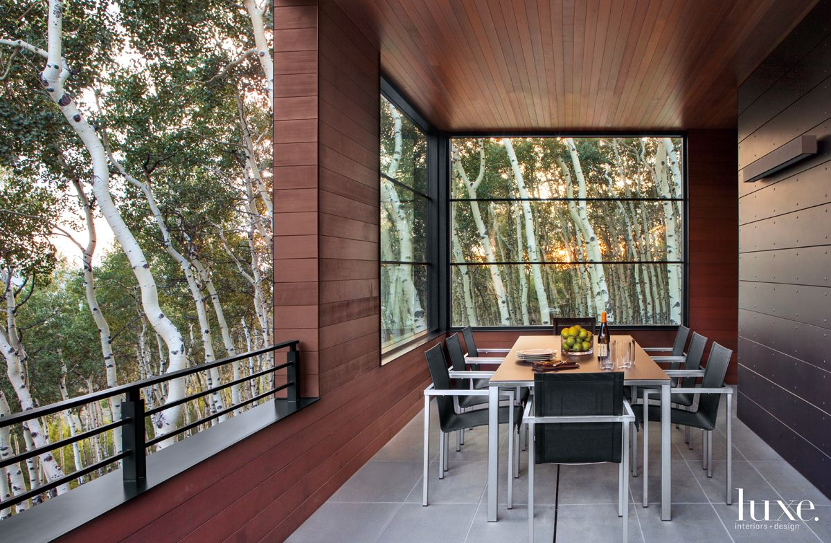 Modern Neutral Balcony with Dining Area