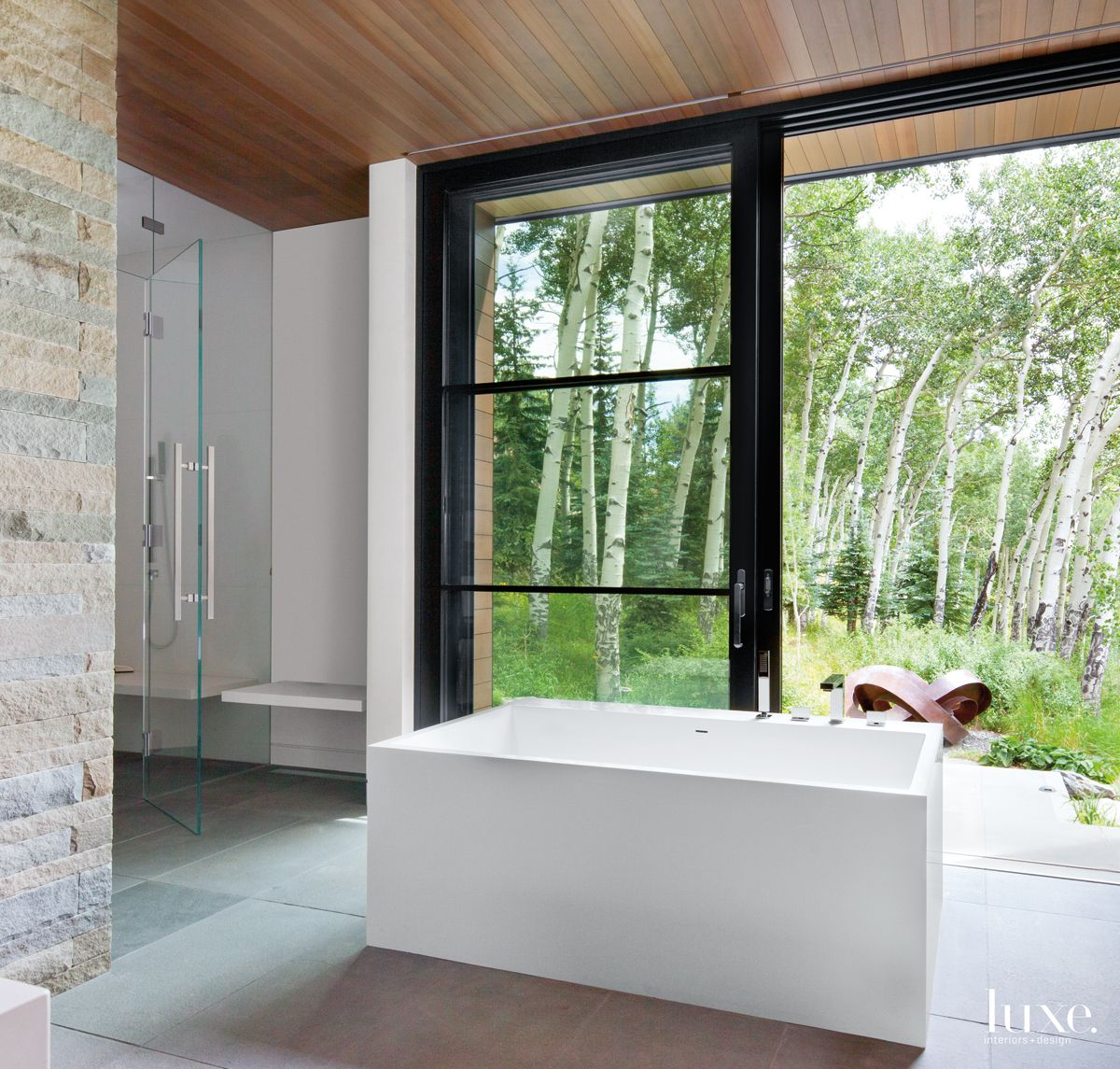 Modern Neutral Bathroom with Outdoor Access