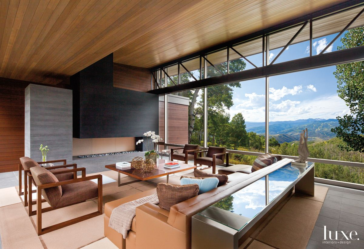 Modern Neutral Living Room with Sweeping Mountain Views