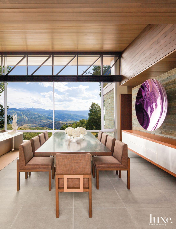 Modern Neutral Dining Room with Pennsylvania Bluestone Wall