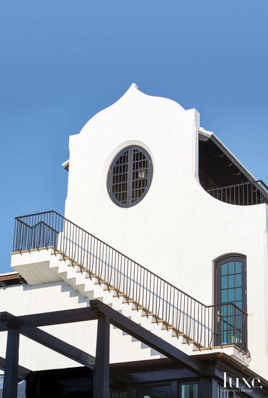 Modern White Exterior with Exterior Staircase