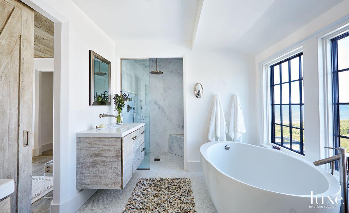 Modern White Bathroom with Rain Shower