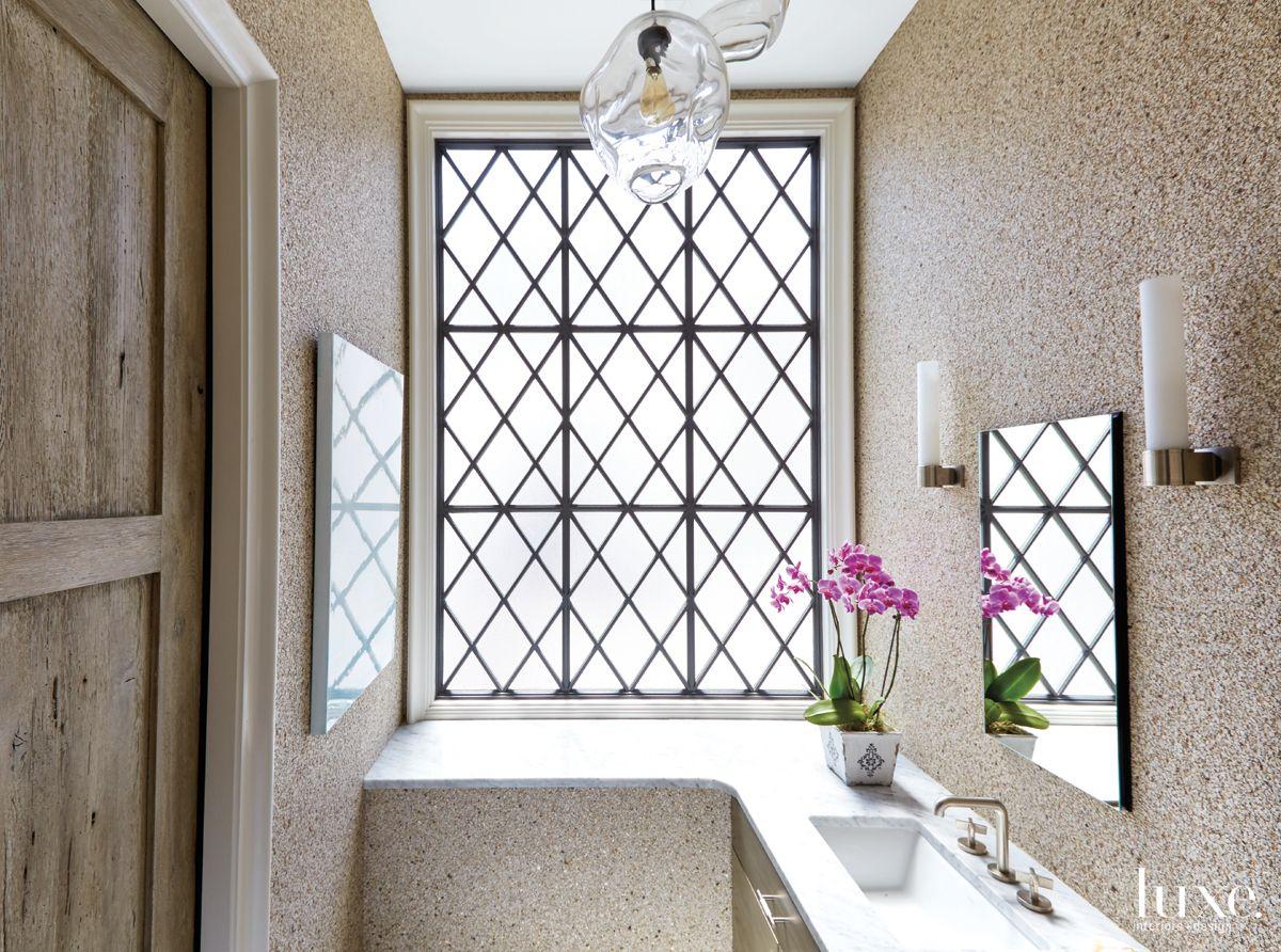 Modern Neutral Bathroom with Granite-Like Wallcovering