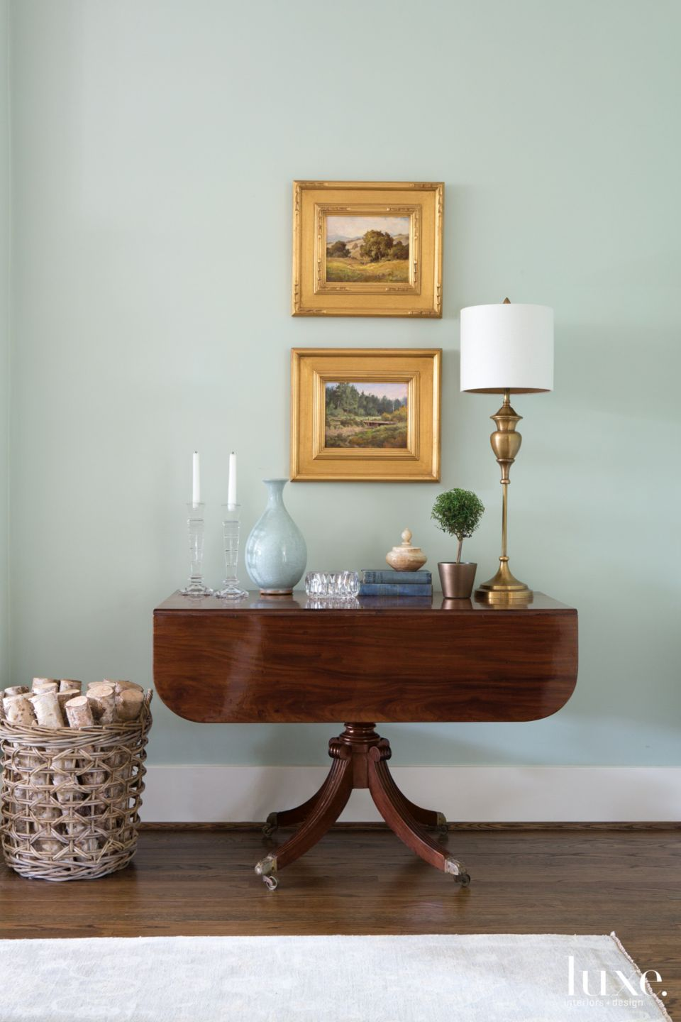 Eclectic Green Living Room Vignette with