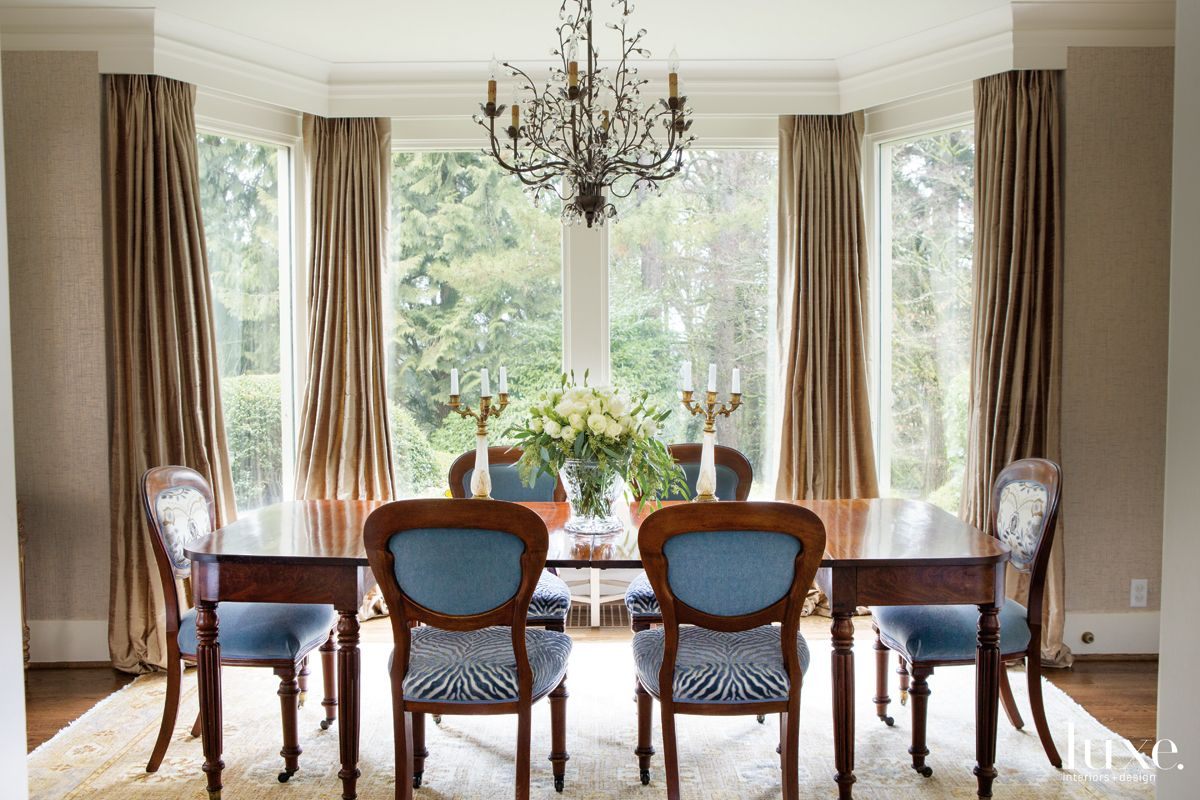 Eclectic Neutral Dining Room with Blue Zebra Dining Chairs