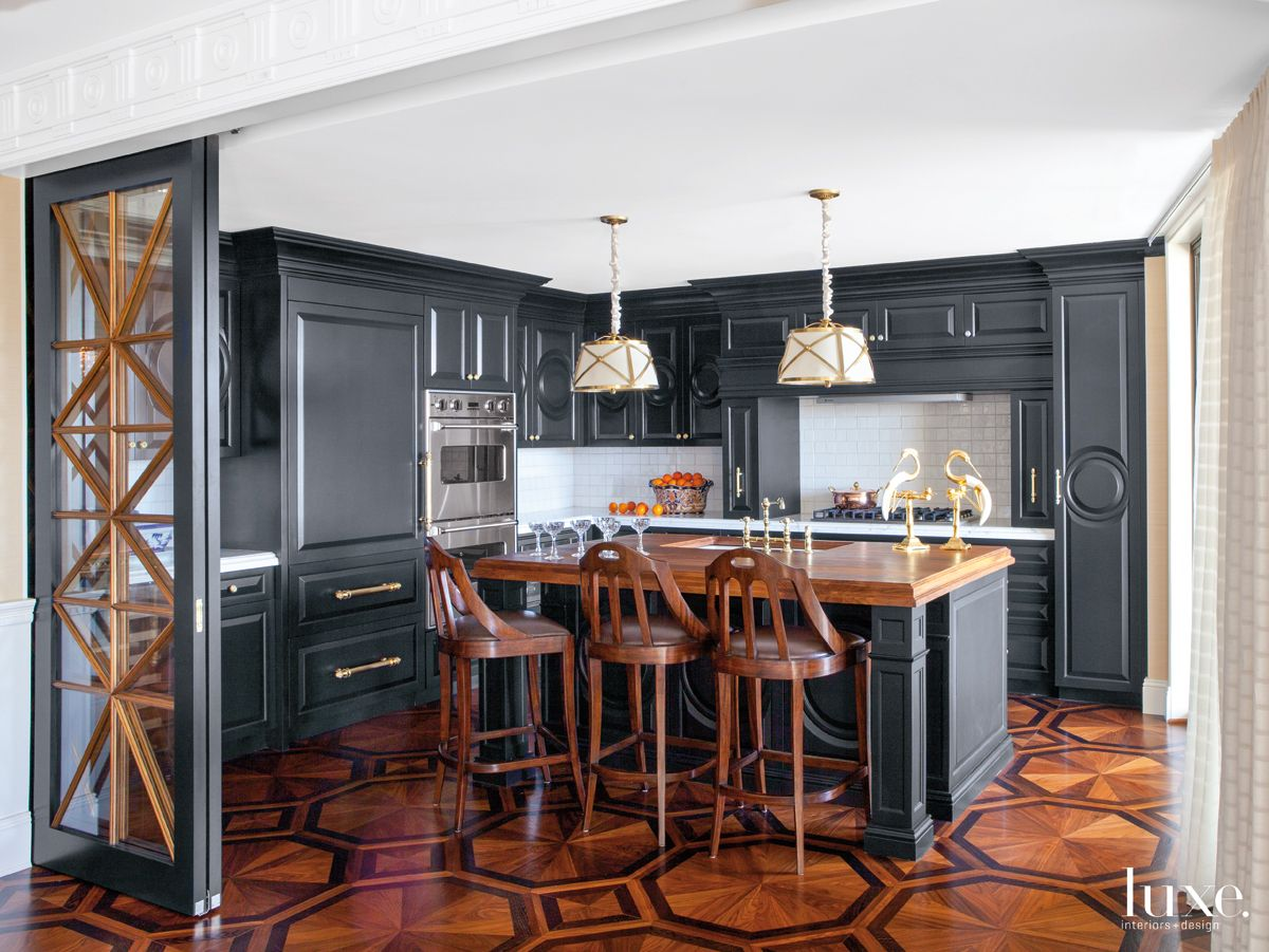 Traditional Black Kitchen with Walnut Island