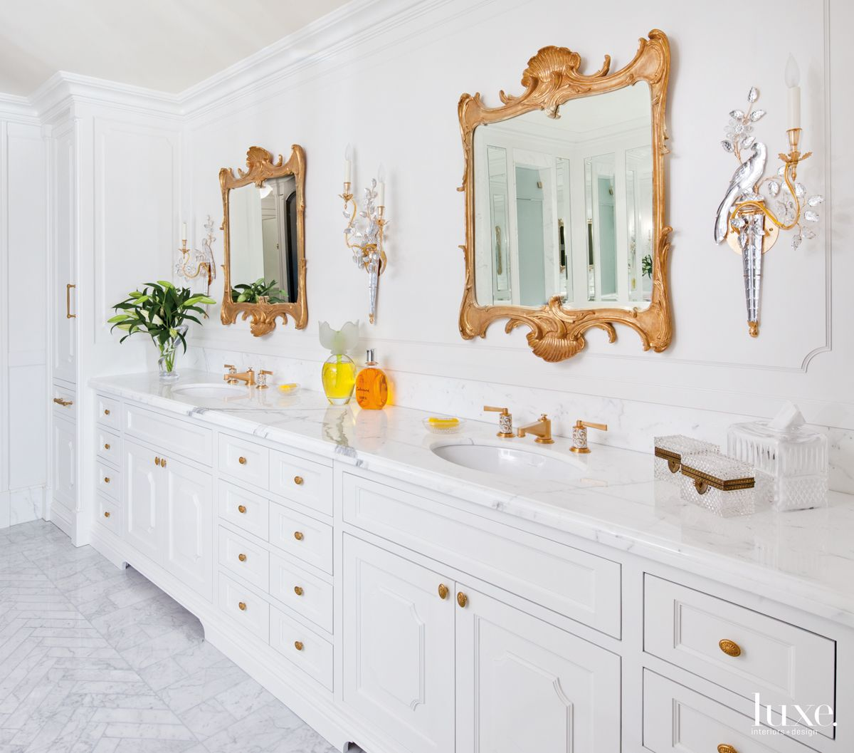 Traditional White Bathroom with Brass Faucets