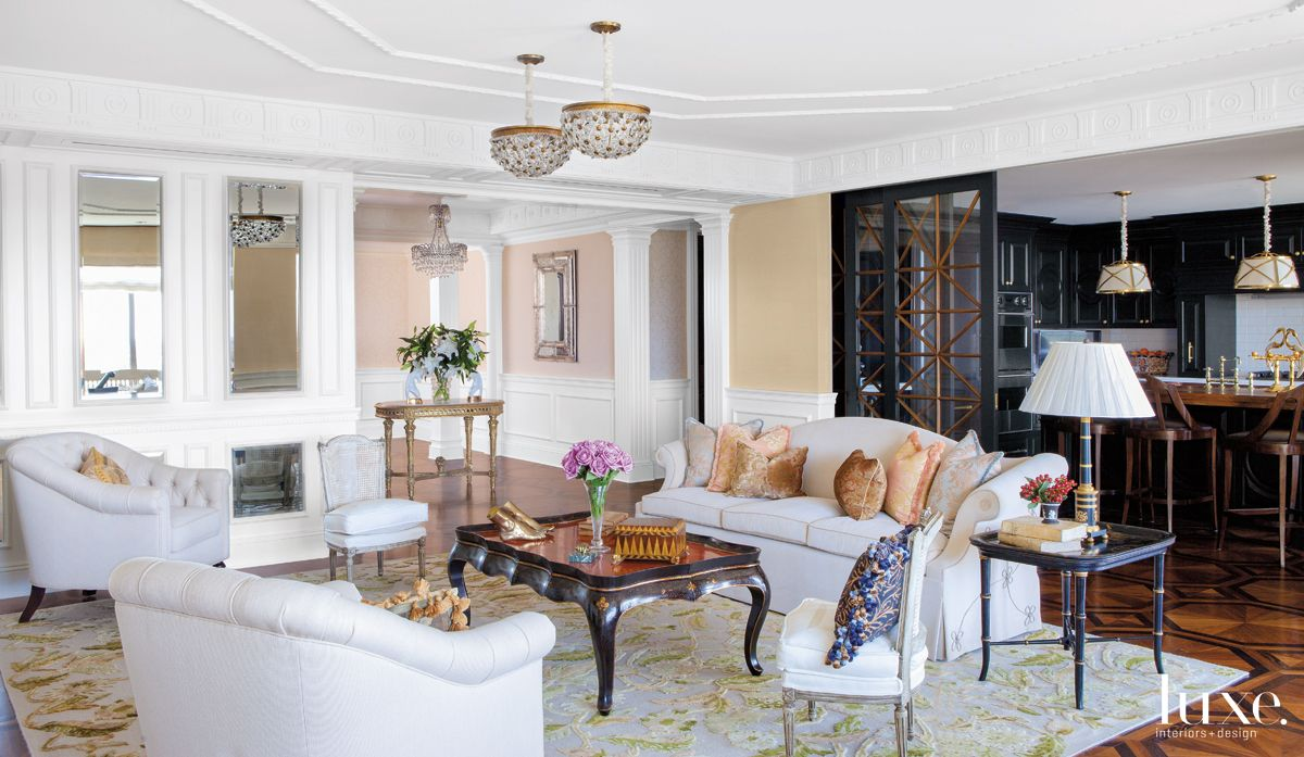 Traditional Neutral Living Room with Floral Silk Rug